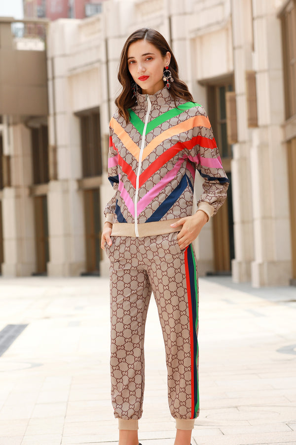 Multicolor Pattern Brown Suit (Jacket & Pants)