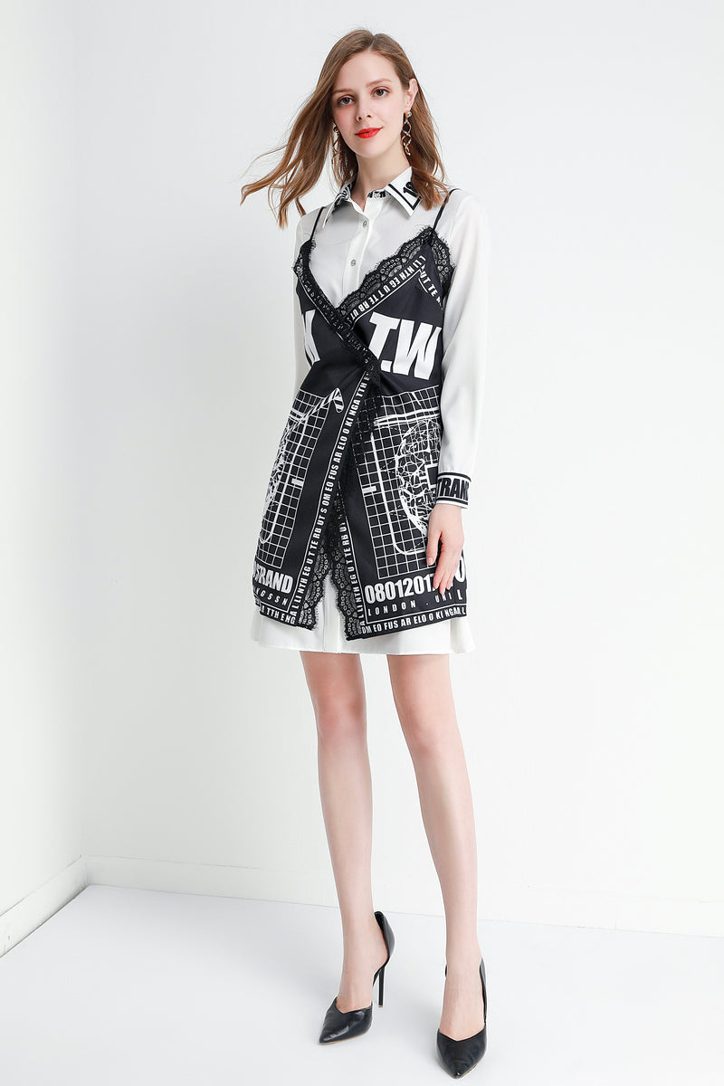 Holistic design White & black shirt Dress