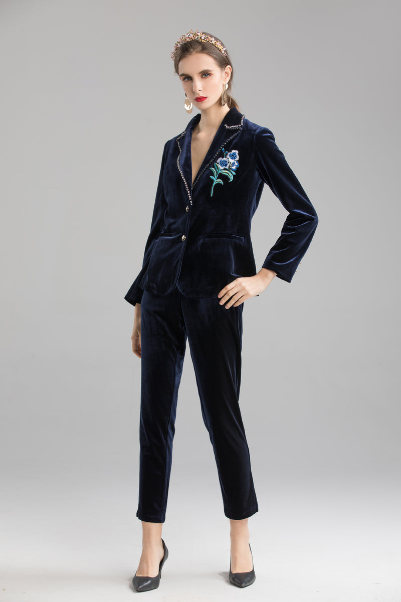 Button Detail Navy Suit Bundle (Blazer & Pants)