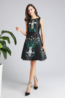 Multicolor Green Patterns Print Dress