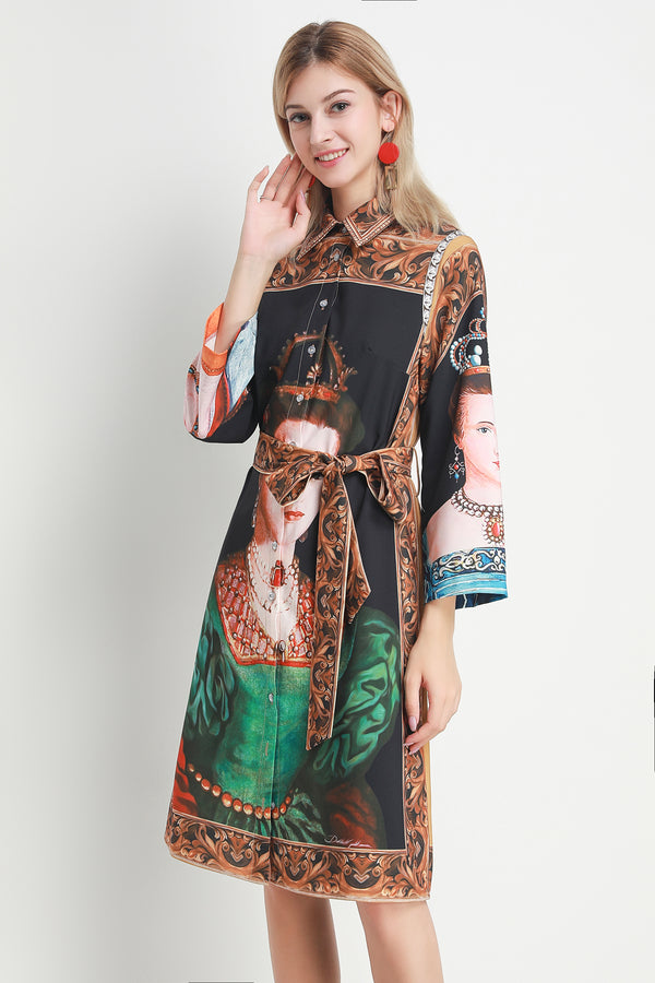 Base print Multicolor wrap Dress