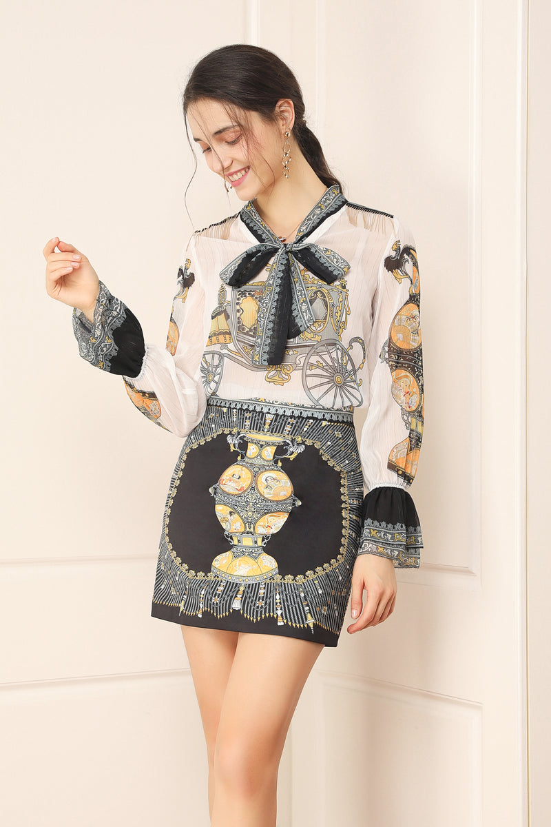 White & Black Multicolor print Suit (Blouse & Skirt)