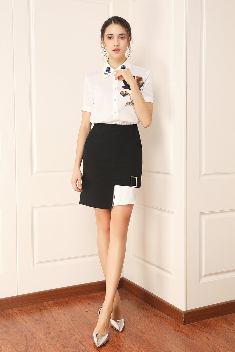 Adjusted White & Black Suit (Shirt & Skirt)