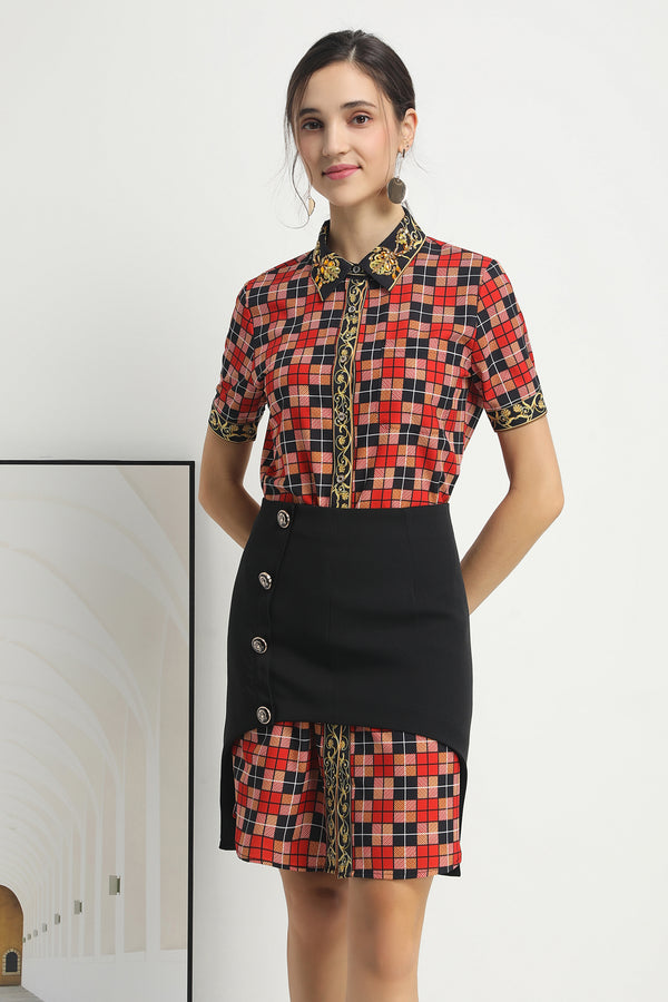 Red & Black cell print Suit (Shirt-dress & Skirt)
