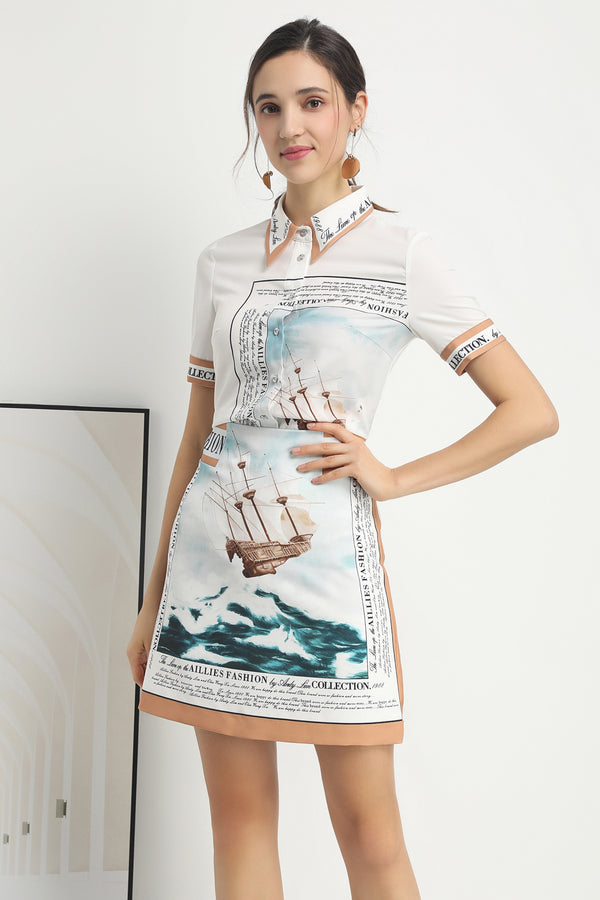 Light blue Sea ships design Suit (Shirt & Skirt)