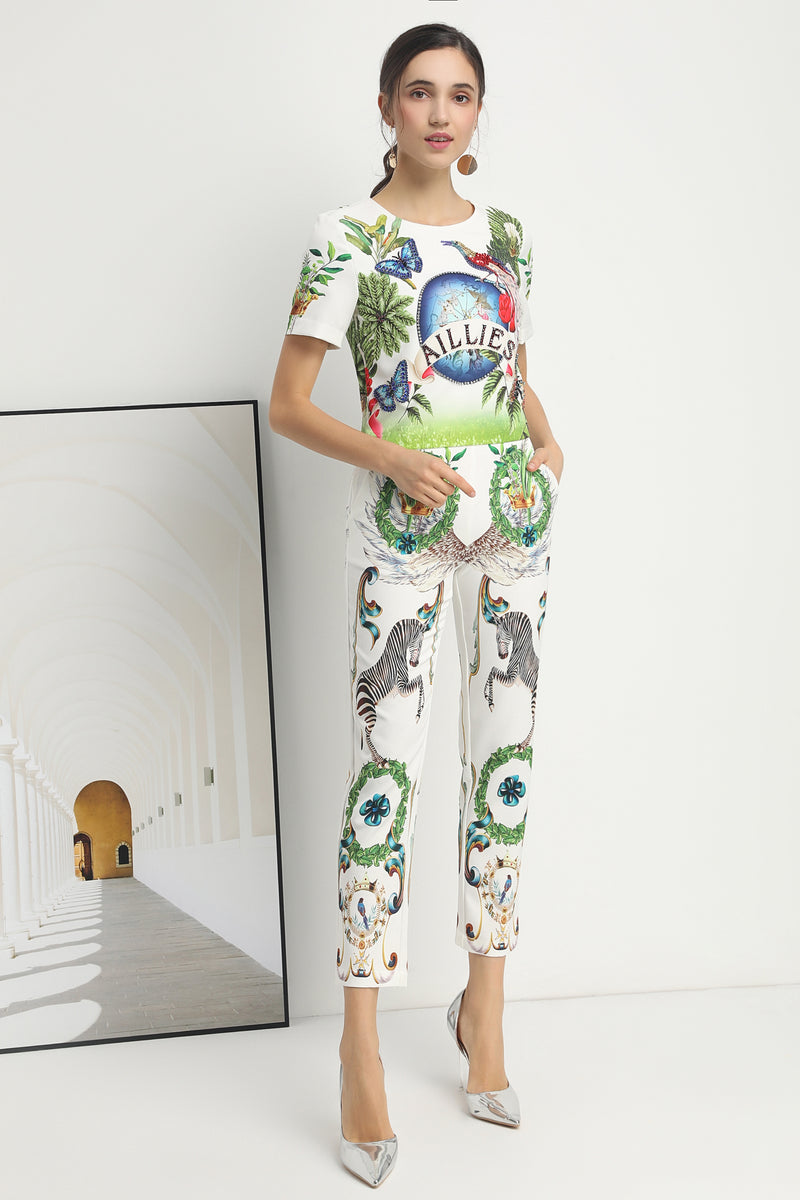 Green patterns & Multicolor print Suit (Blouse & Pants)