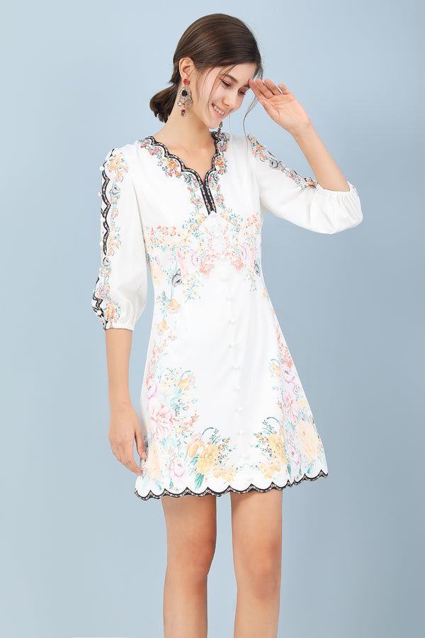 Base White & Multicolor floral print Dress