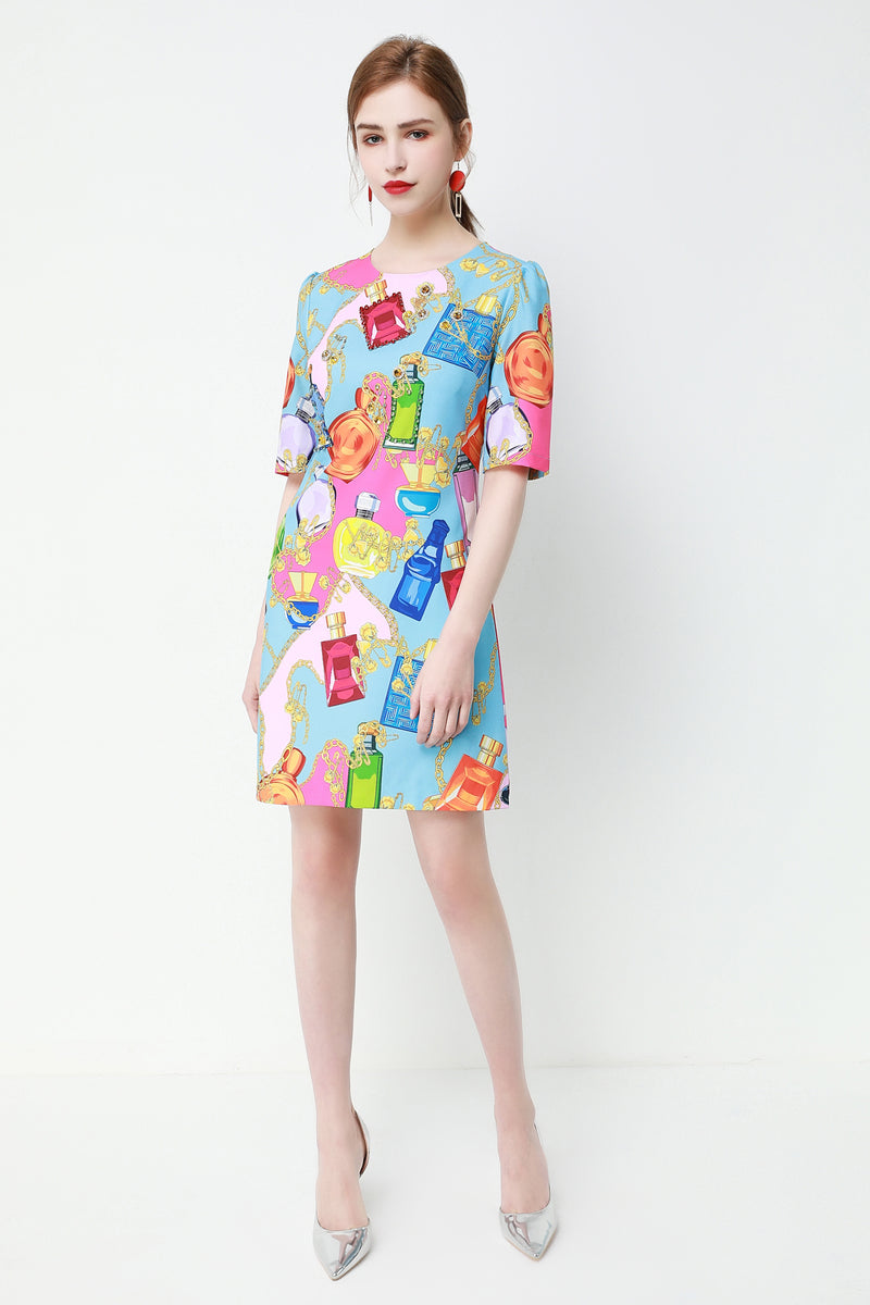 Bottles & shapes Dress in multicolor
