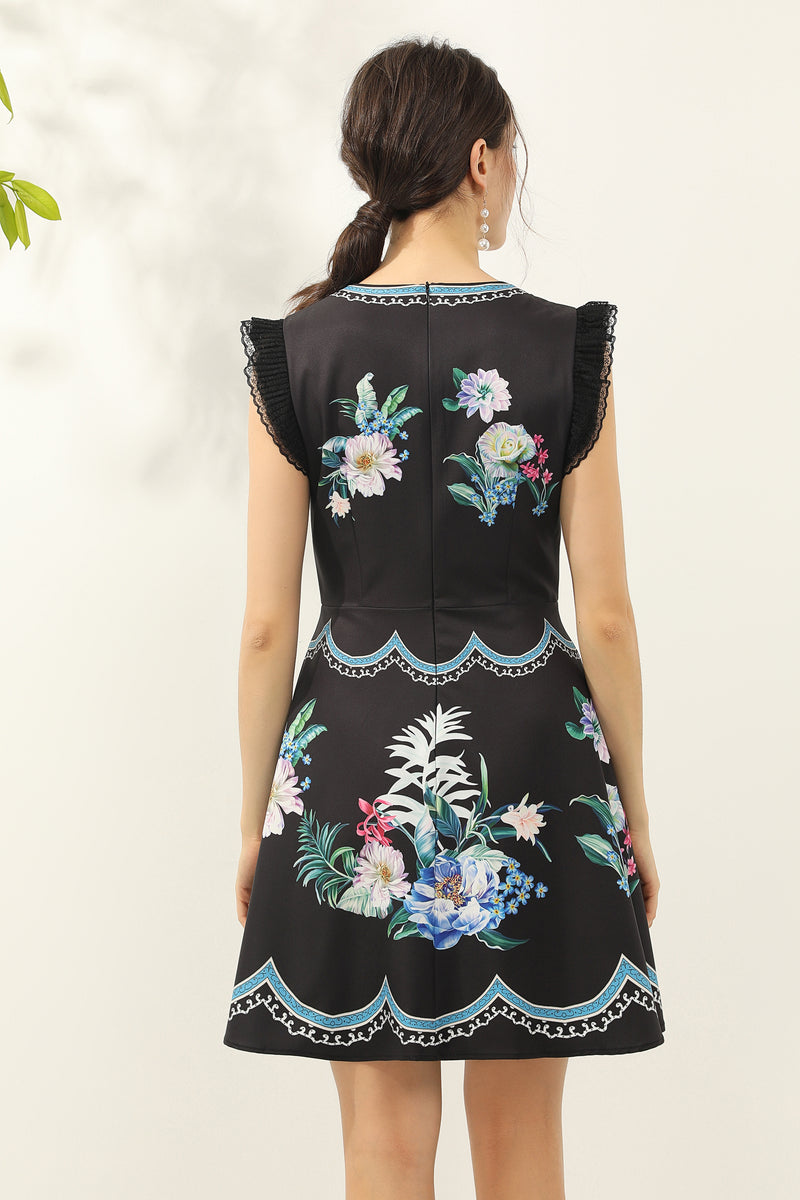 Multicolor floral print Dress in black