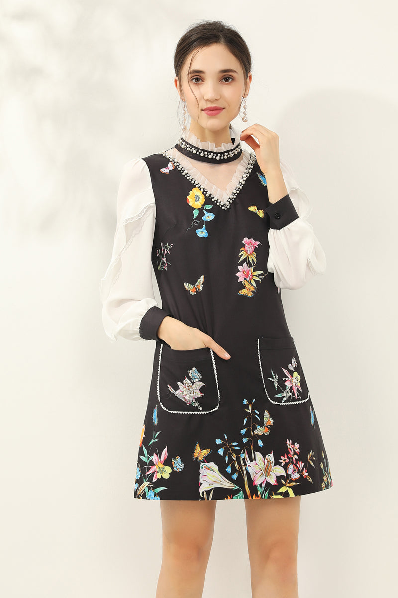 Front pockets Multicolor floral print Dress in black