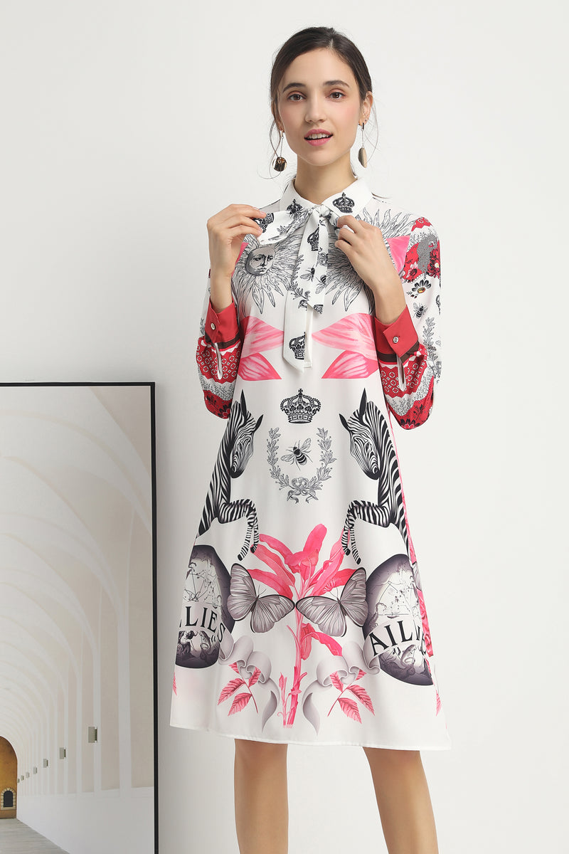 Long sleeved Multicolor print Dress in white