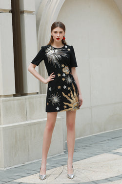 Golden & Silver designs print Dress in black