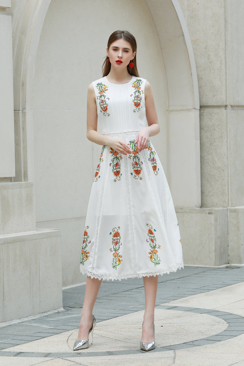 Light Multicolor floral print Dress in white