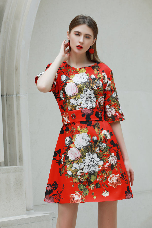 Base Red & Multicolor floral print Dress
