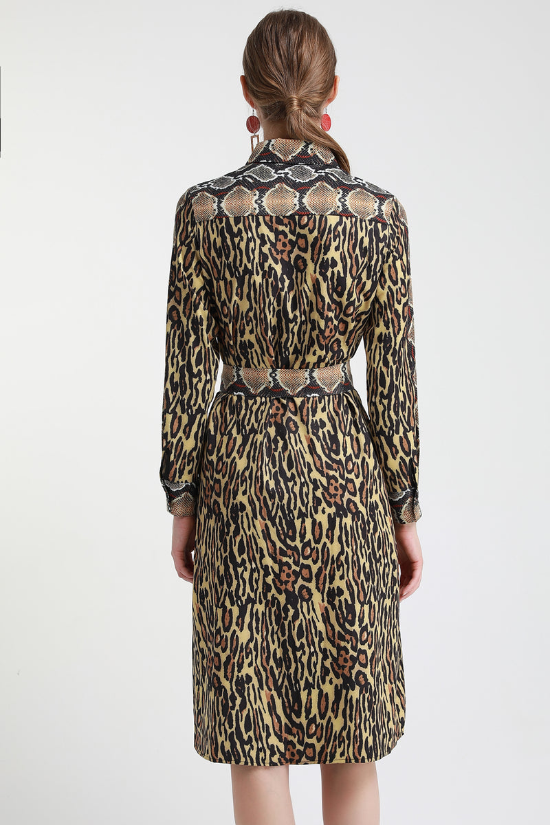 Brown Multicolor snake skin print Dress