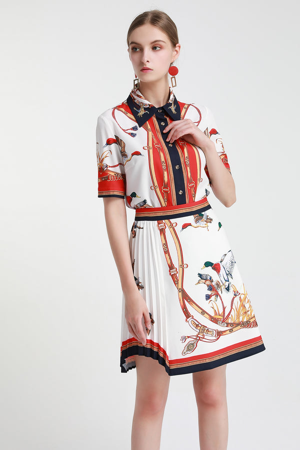 Base White with Red & Multicolor print Suit (Shirt & Skirt)