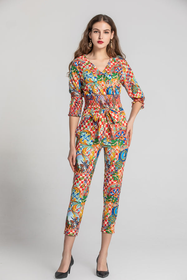 Multicolor Floral Suit Bundle (Top & Pants)