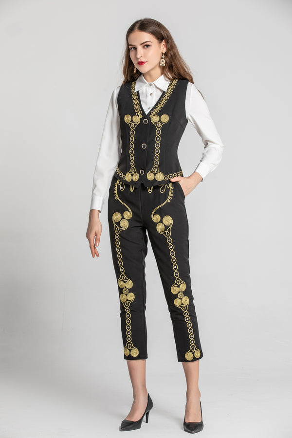 Golden Print Black Suit Bundle (Shirt, Pants & Vest)