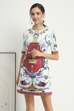 Multicolor print shirt Dress in white