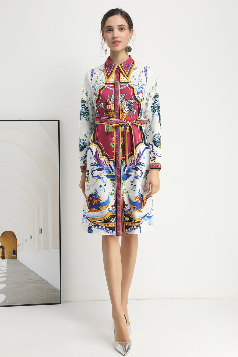 Multicolor print Dress in white with waist wrap