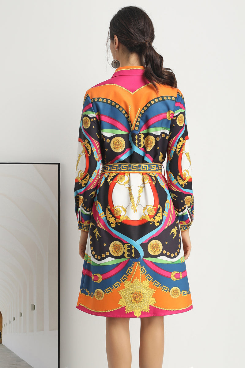 Multicolor patterns Dress with waist wrap