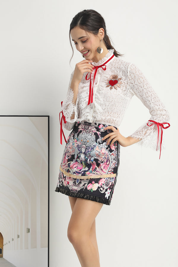 Dynamite White & Multicolor print Suit (Shirt & Skirt)