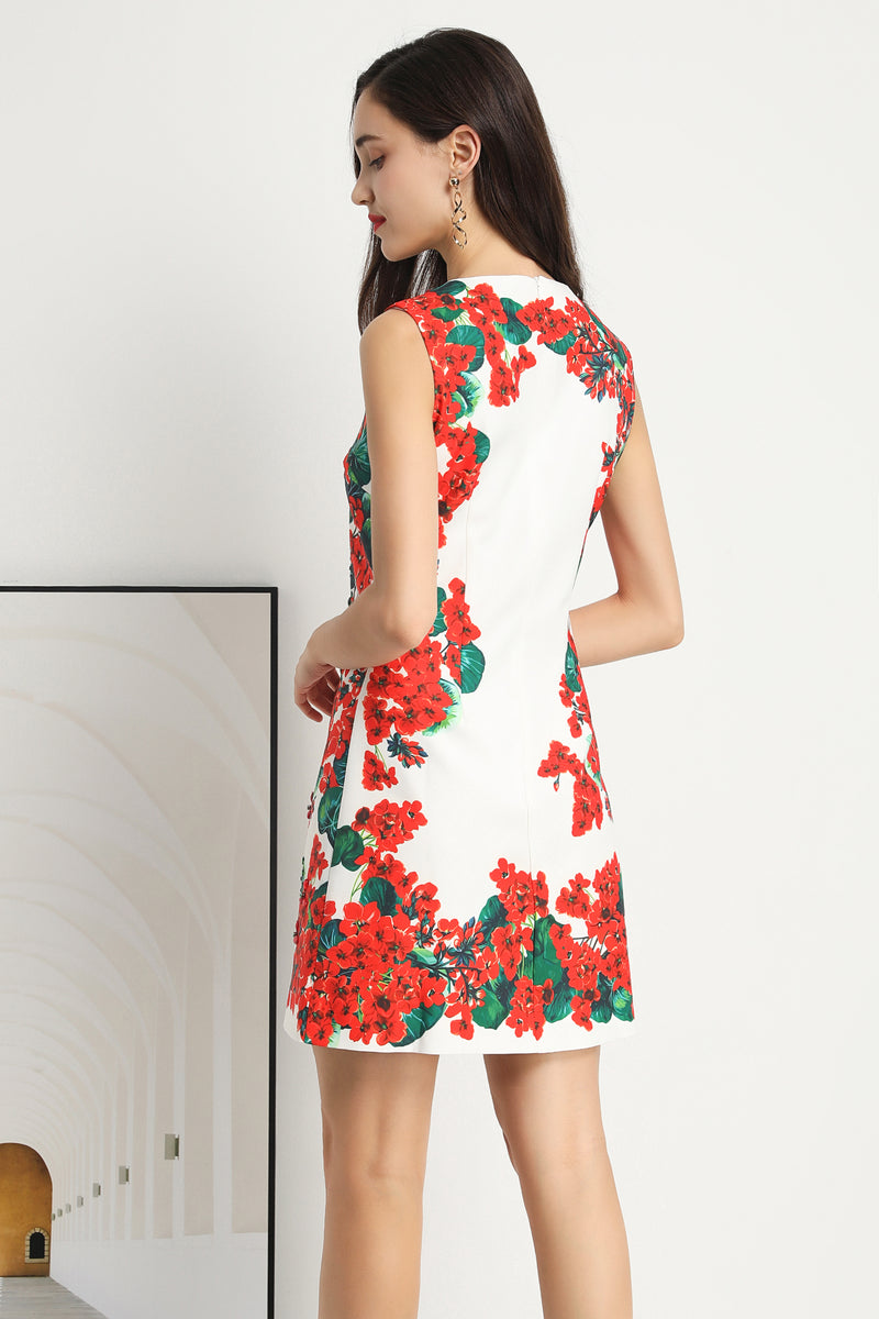 Multi red floral print Dress in white