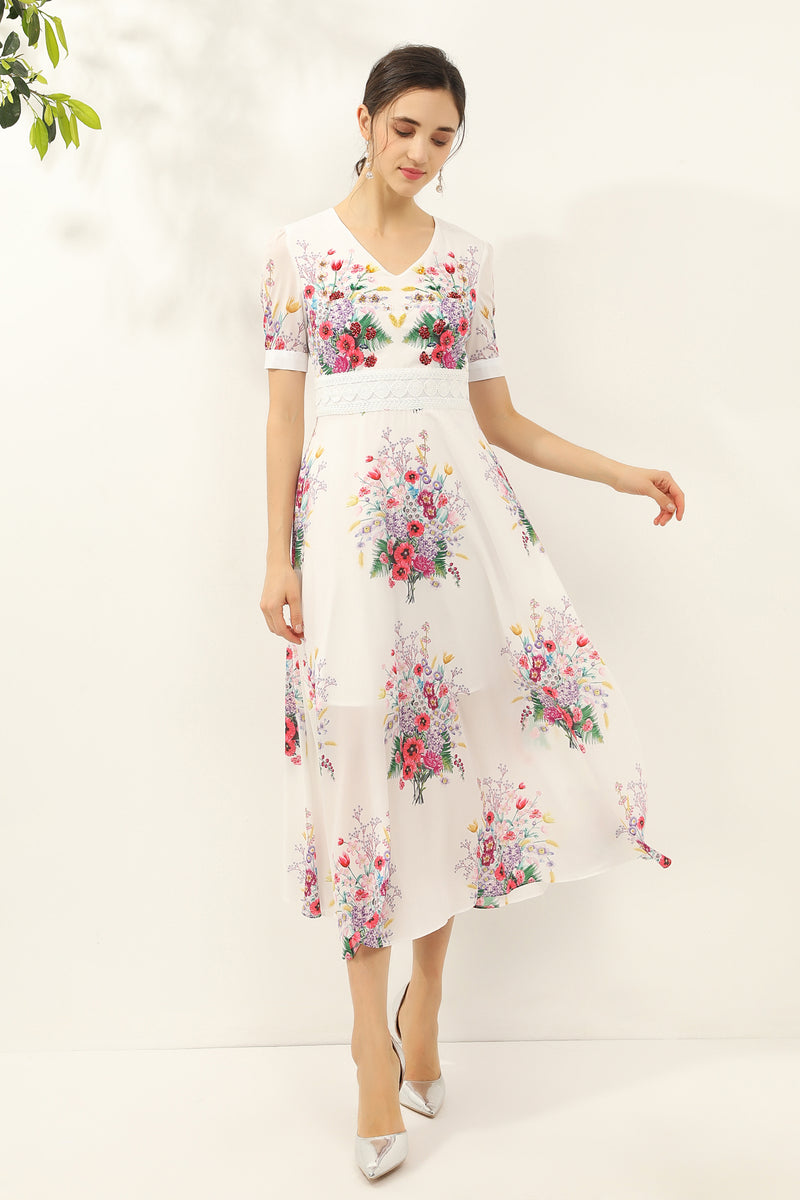 Multicolor floral print Dress in white