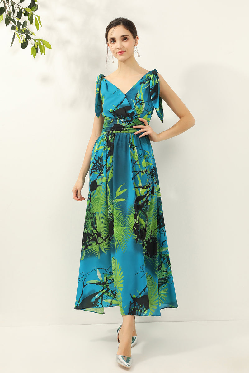 Mixed print Dress in Blue & Green