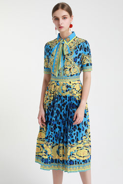 Blue Animal print dress in Multicolor