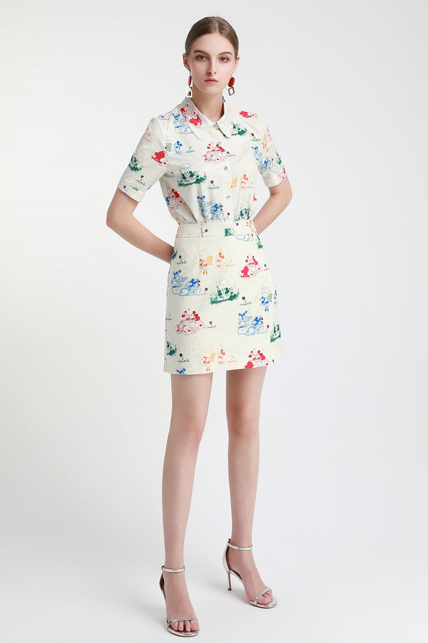 Multicolor floral Suit in white (Shirt & Skirt)