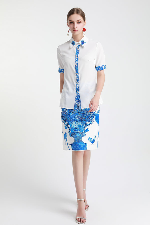 Base White & Blue patterns print Suit (Shirt & Skirt)