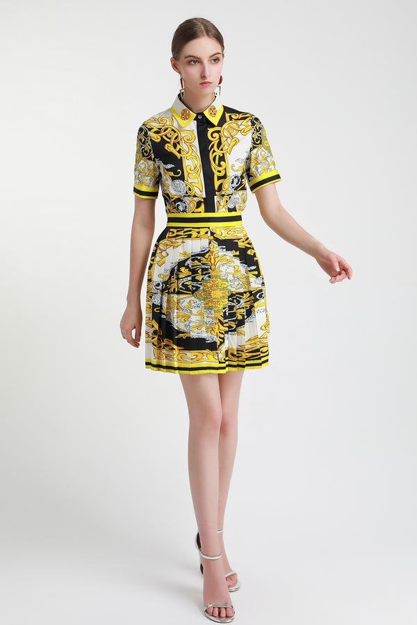 Multi Black & Yellow designs Suit (Shirt & Skirt)