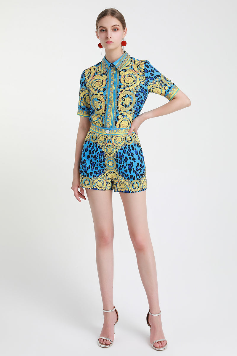 Base Yellow & Multicolor animal print Suit (Shirt & Shorts)