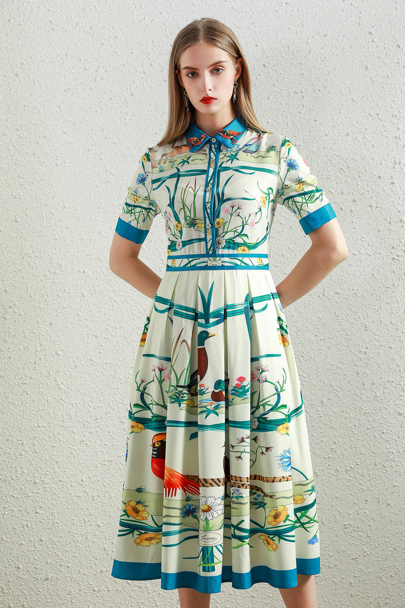 Beautiful Birds print Dress in multicolor