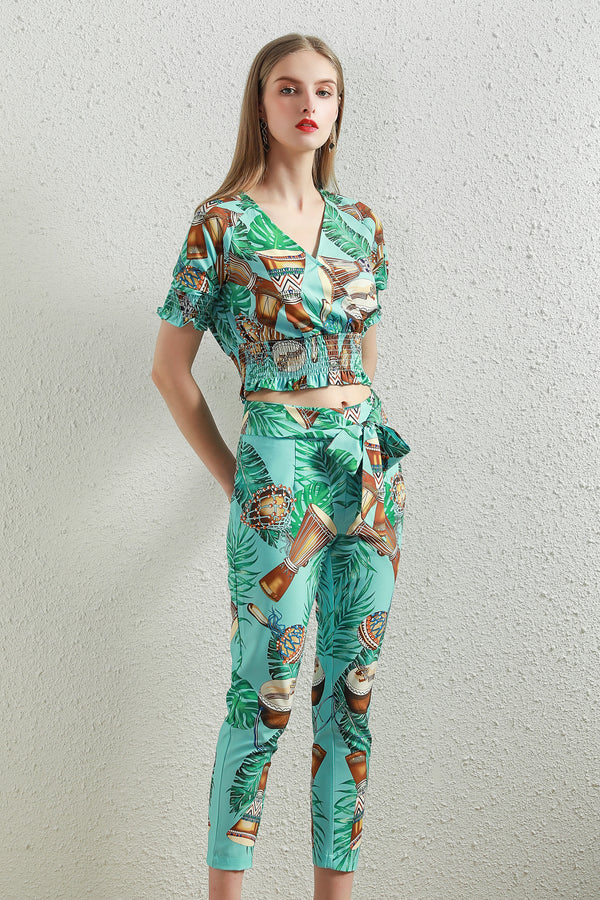 Mint match  Multicolor print Suit (Blouse & Pants)