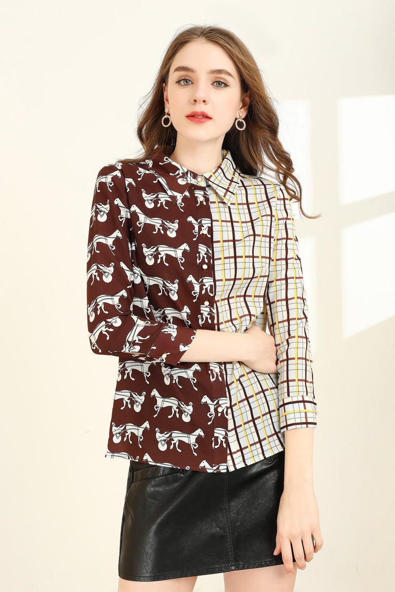 Brown Side By Side Multicolor & Designs Shirt