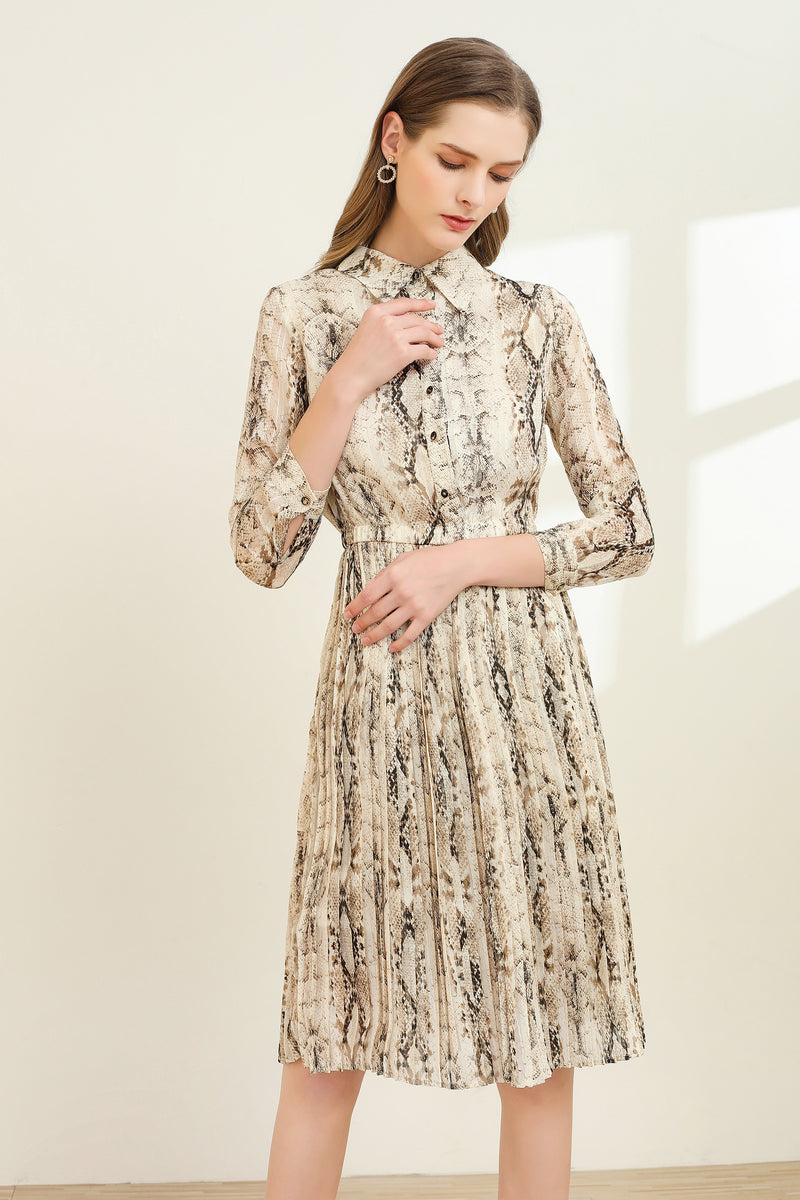 Beige & Brown animal skin print Dress