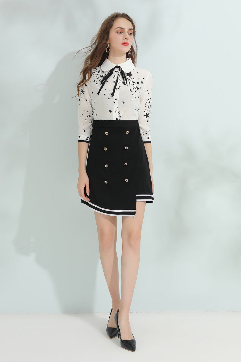 Buttons Tux cut & floral print dress