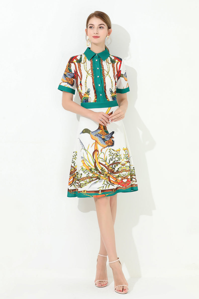 Multi Green linning  Multicolor print Dress