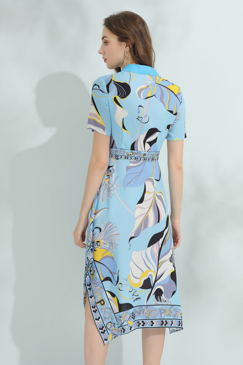 Blue design patterns Multicolor print Dress