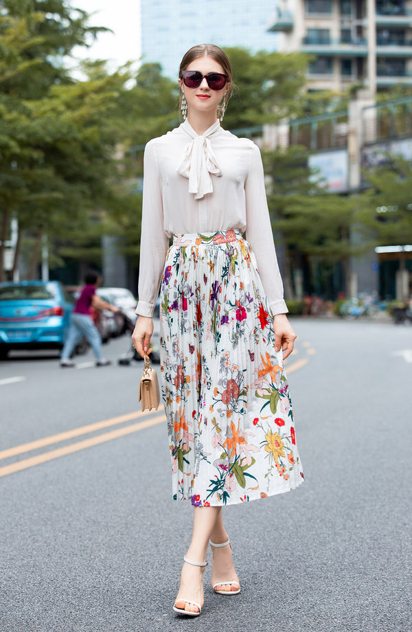 Multi Floral Print White Skirt