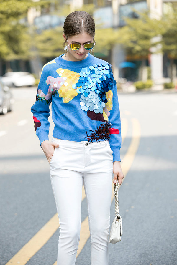 Multicolor Details & Print Blue Sweater