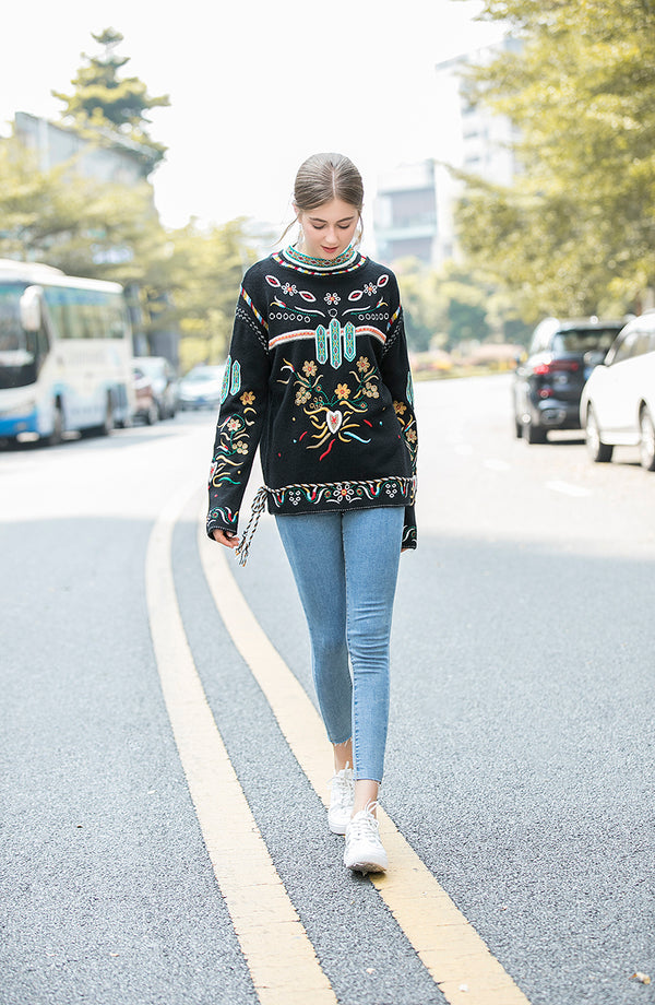 Multicolor Print Black Sweater