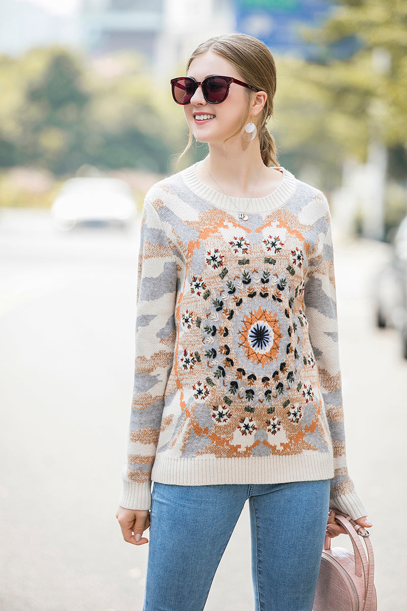 Multicolor Details Light Biege Sweater