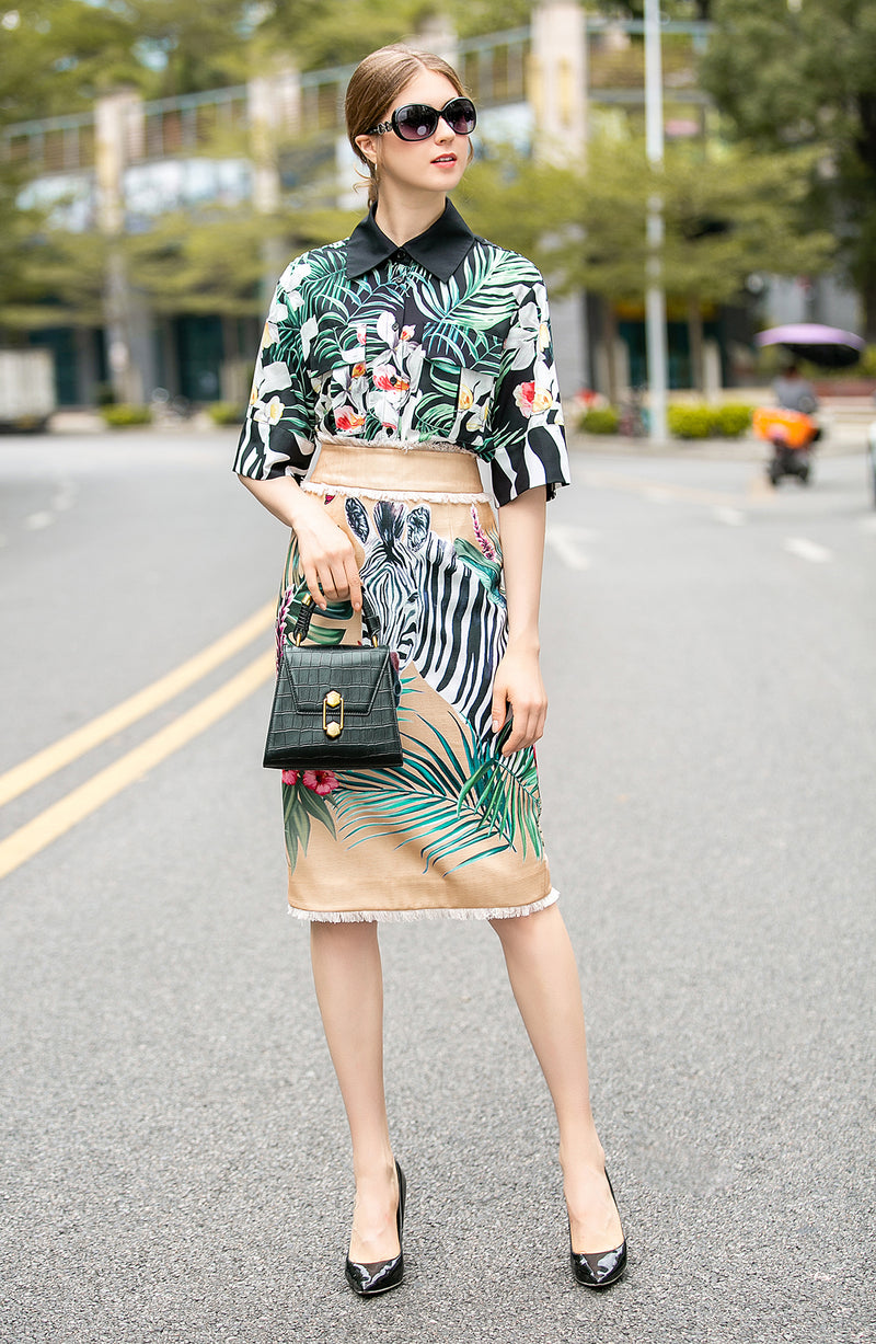Multicolor Pattern Print Suit Bundle (Shirt & Skirt)