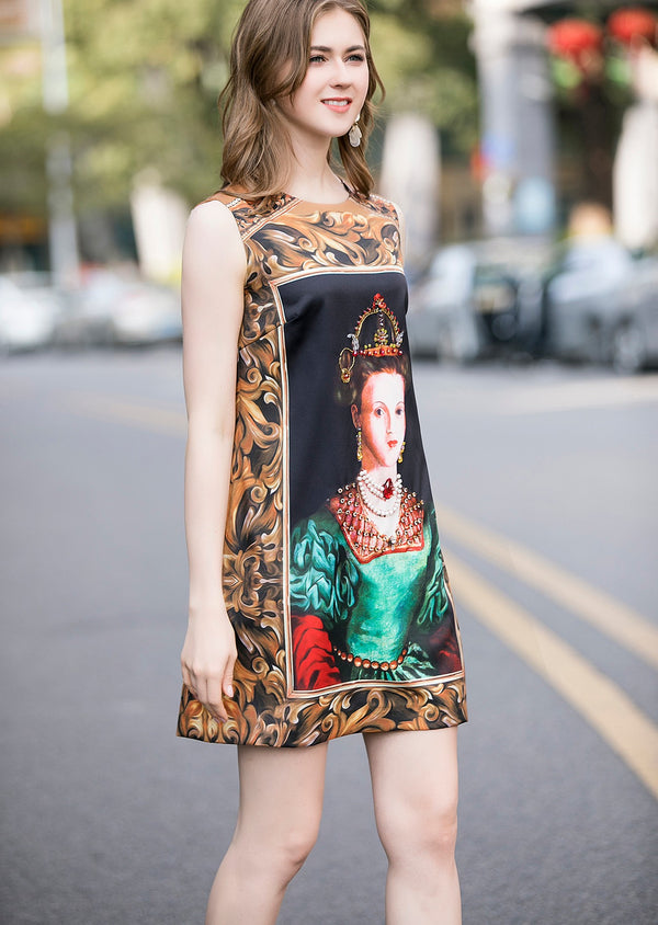 Base Multicolor Print Dress