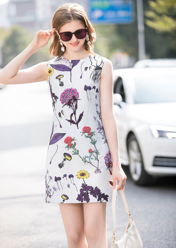 Base White Floral Print Dress