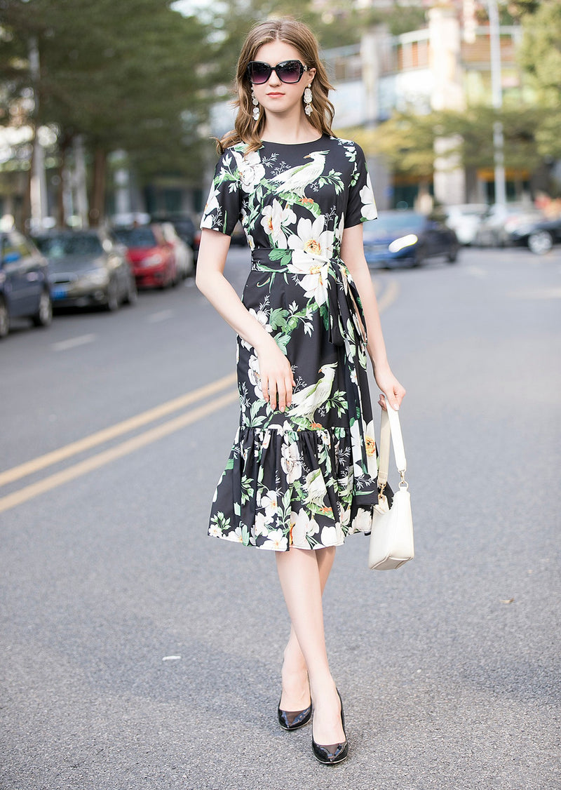 Green & White Floral Print Dress