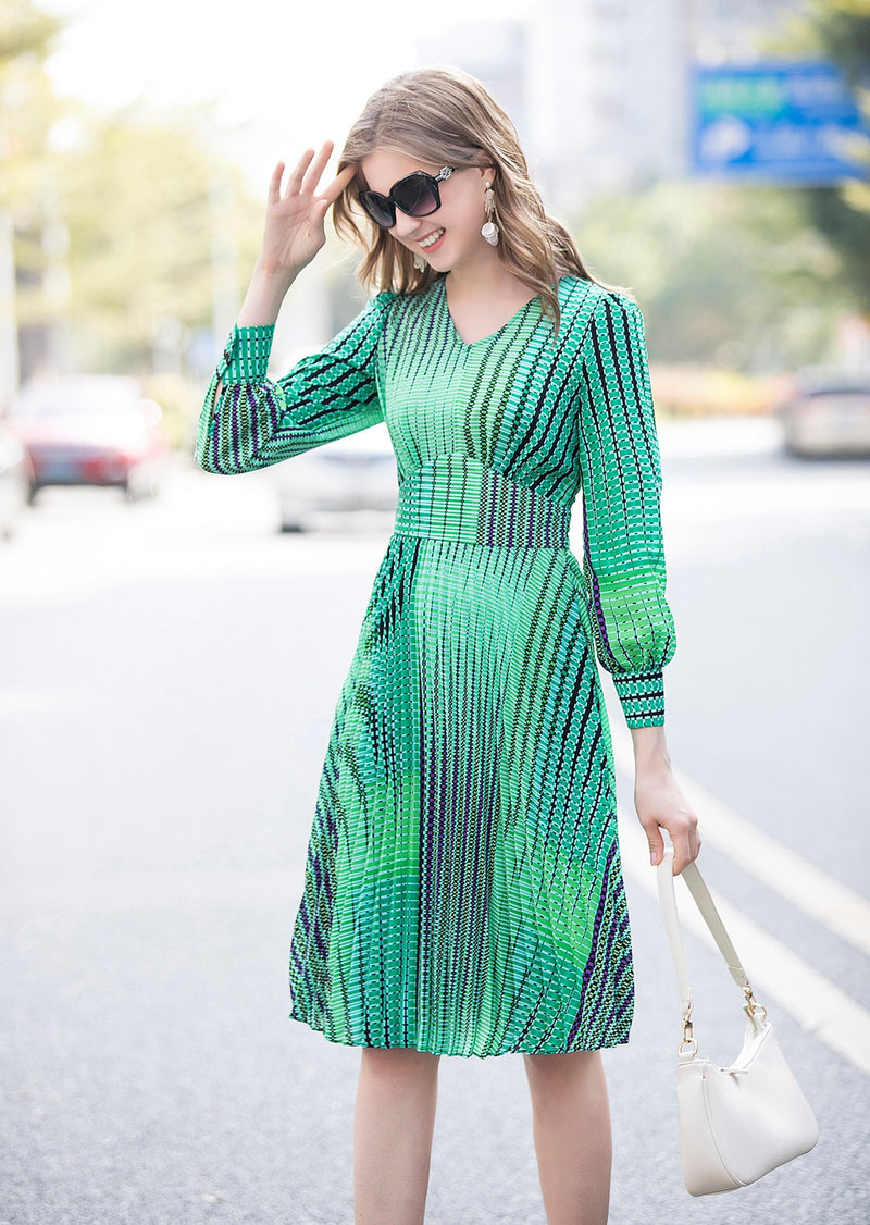 Dotted Black & Green lines Print Dress